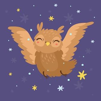 Schattige uil in de nachtelijke hemel