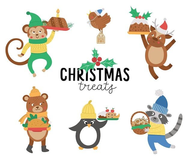 Schattige vectordieren in hoeden, sjaals en truien met traditionele kerstgerechten. winter set tekens met eten. grappige kerstkaart ontwerpen. nieuwjaar afdrukken