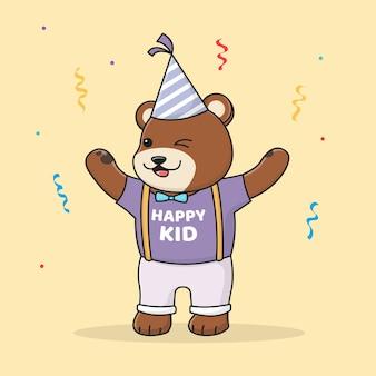 Schattige verjaardag beer met hoed
