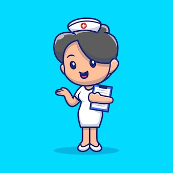 Schattige verpleegster pictogram illustratie.
