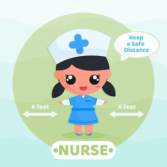 Schattige verpleegster voert sociale afstandscampagne om virus te voorkomen