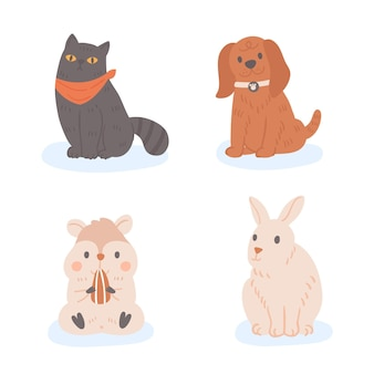 Schattige verschillende huisdieren concept