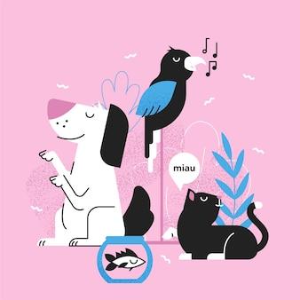 Schattige verschillende huisdierencollectie