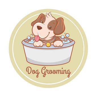 Schattige verzorging hond huisdier zorg cartoon logo