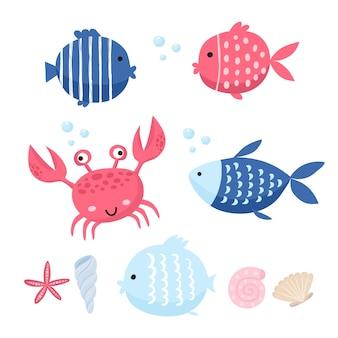 Schattige vis vector illustratie pictogrammen instellen. tropische vissen, zeevissen, aquariumvissen