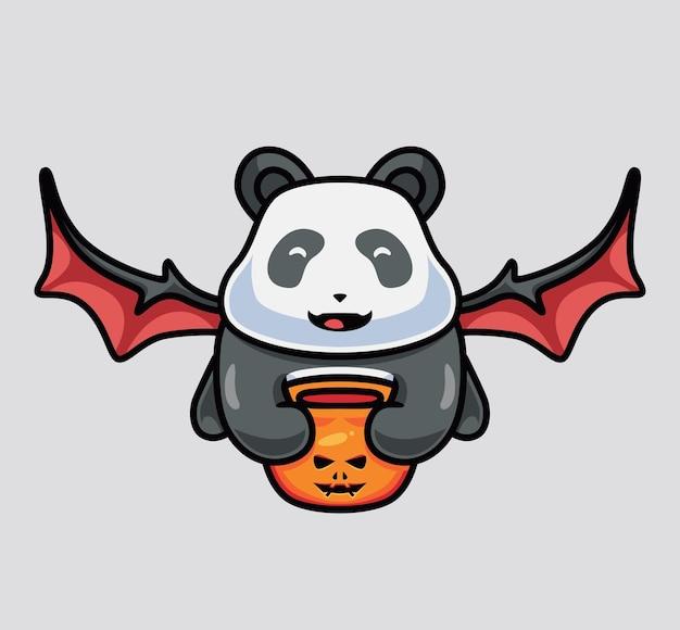 Schattige vliegende panda geïsoleerde cartoon dier halloween illustratie flat style