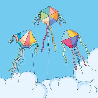 Schattige vliegers die in de lucht vliegen