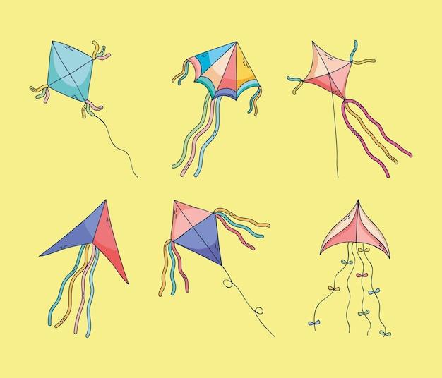 Schattige vliegers pictogram decorontwerp