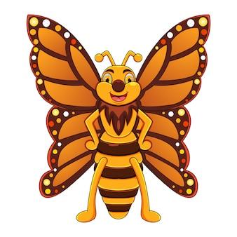 Schattige vlinder cartoon poseren