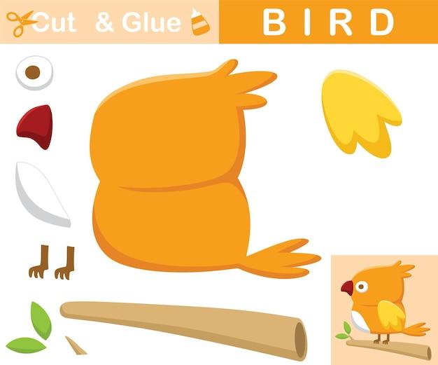 Schattige vogel baars op boomtakken. educatief papieren spel voor kinderen. uitknippen en lijmen. cartoon illustratie