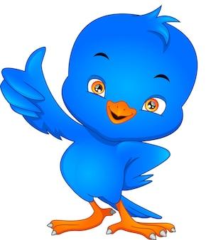 Schattige vogel cartoon duimen omhoog