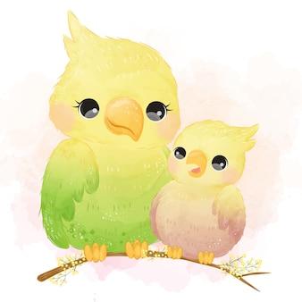 Schattige vogel moederschap aquarel illustratie.