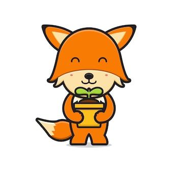Schattige vos bedrijf plant cartoon pictogram vectorillustratie. ontwerp geïsoleerd op wit. platte cartoonstijl.