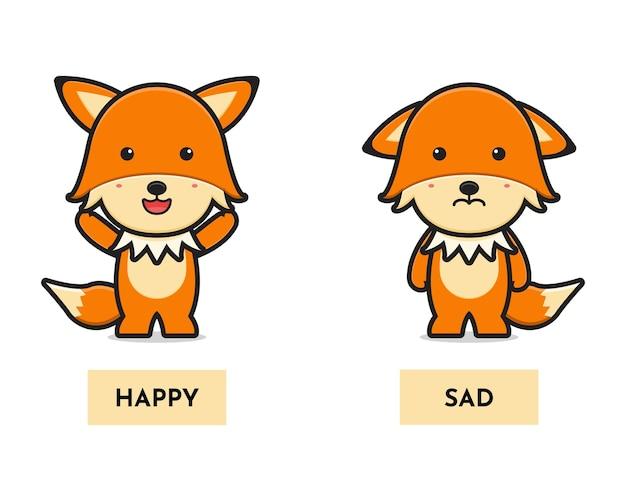 Schattige vos blij en verdrietig antoniem kaart cartoon pictogram vectorillustratie. ontwerp geïsoleerd op wit. platte cartoonstijl.