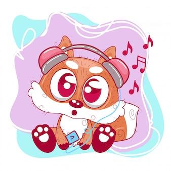 Schattige vos cartoon met hoofdtelefoon