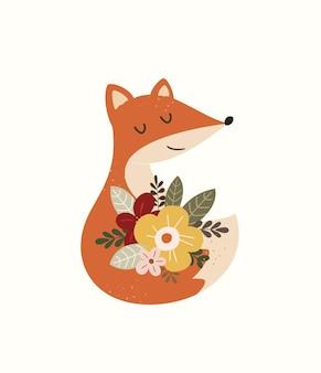 Schattige vos illustratie voor babykamer print