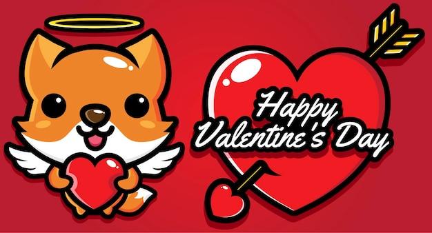 Schattige vos met gelukkige valentijnsdaggroeten