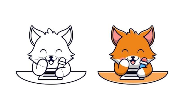 Schattige vos schrijft cartoon kleurplaten voor kinderen