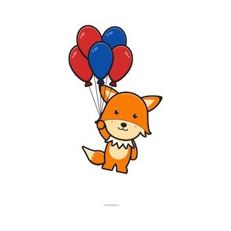 Schattige vos vliegen met ballon cartoon pictogram vectorillustratie. ontwerp geïsoleerd op wit. platte cartoonstijl.