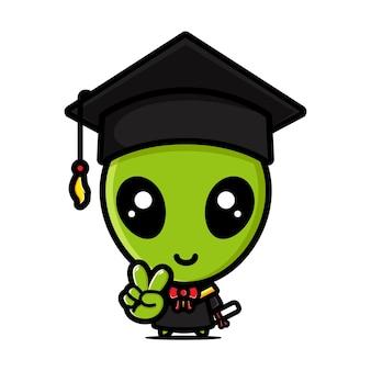 Schattige vrijgezel alien op afstudeerdag