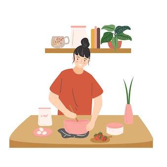 Schattige vrouw koken in de keuken. leuk jong meisje dat maaltijden thuis voorbereidt. vrouwelijke stripfiguur lunch of diner maken. moderne platte illustratie