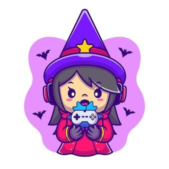 Schattige vrouwelijke heks gaming cartoon vectorillustratie pictogram. halloween gaming icoon