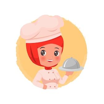 Schattige vrouwelijke hijab chef-kok logo.