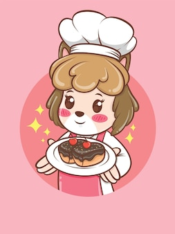 Schattige vrouwelijke hond chef-kok met een taart. bakkerij chef-kok concept. stripfiguur en mascotte illustratie.