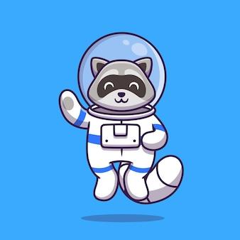 Schattige wasbeer astronaut zwaaiende hand cartoon afbeelding