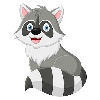 Schattige wasbeer cartoon zittend op een witte achtergrond