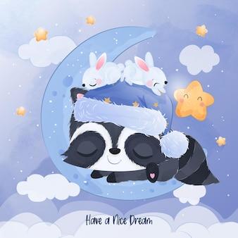 Schattige wasbeer en konijntje spelen met de maan en de ster
