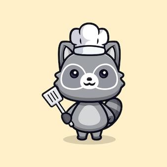 Schattige wasberen chef-kok vector dierlijke karakter illustratie