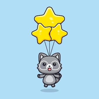 Schattige wasberen drijvend met ster ballon vector dierlijke karakter illustratie