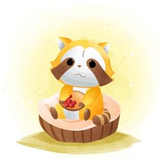 Schattige wasberen eten veel kersen, aquarel. eps10