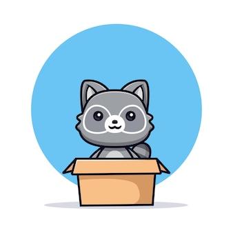 Schattige wasberen in doos vector dierlijke karakter illustratie