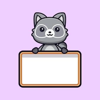 Schattige wasberen met lege tekstbord vector dierlijke karakterillustratie
