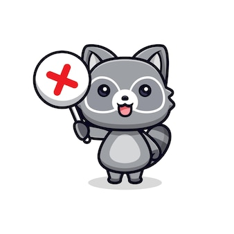 Schattige wasberen met verkeerd teken vector dierlijke karakter illustratie