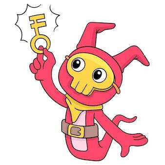 Schattige wezens krijgen de magische sleutel tot de opening van de schat, vectorillustratiekunst. doodle pictogram afbeelding kawaii.