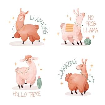 Schattige wilde lama illustratie