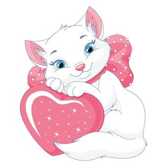 Schattige witte kat met hart