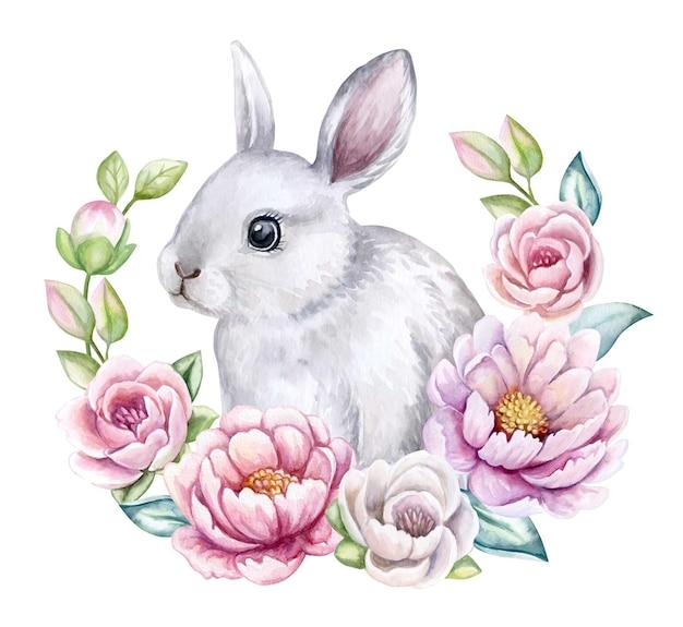 Schattige witte konijn paashaas in een bloemen frame