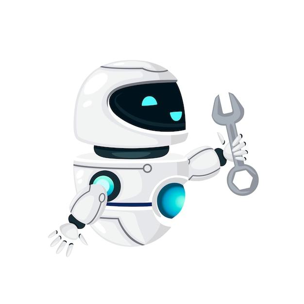 Schattige witte moderne zwevende robot omhoog opgeheven hand en moersleutel platte vectorillustratie geïsoleerd op een witte achtergrond te houden.