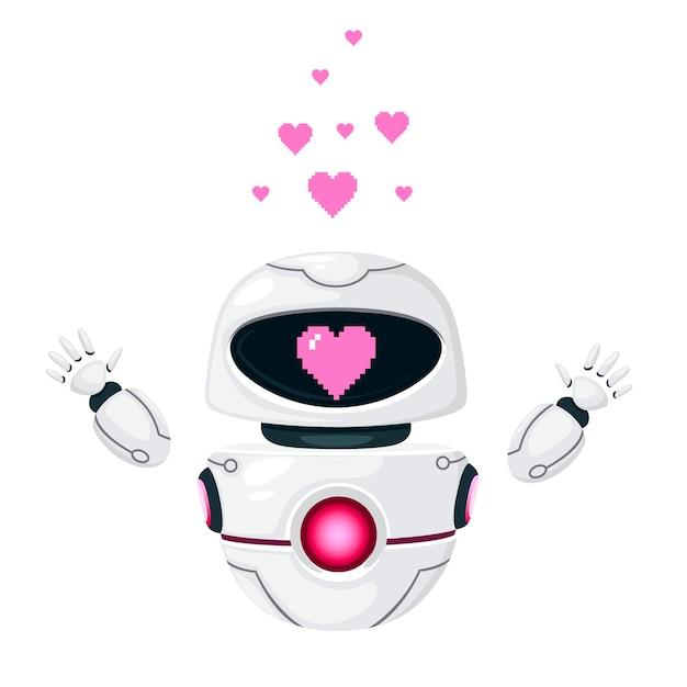 Schattige witte moderne zwevende robot opgeheven handen en met roze hart liefde gezicht platte vectorillustratie geïsoleerd op een witte achtergrond.