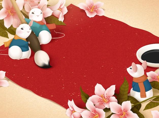 Schattige witte muis is klaar voor het schrijven van maanjaarkalligrafie door penseelpen op lente couplet