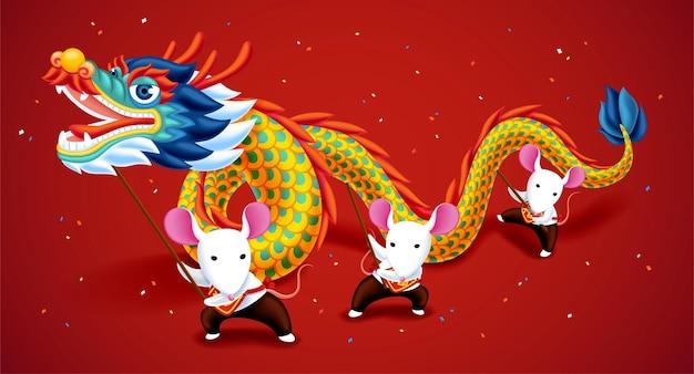 Schattige witte muizen die drakendans spelen voor het maanjaar op rode achtergrond