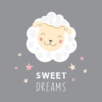 Schattige witte schapen zoete dromen