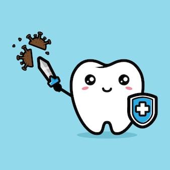 Schattige witte tanden tegen bacteriën