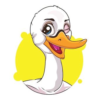 Schattige witte zwaan avatar