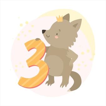 Schattige wolf en nummer 3