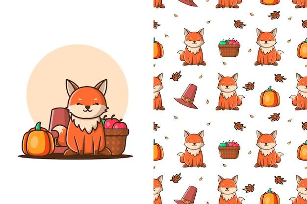 Schattige wolf in de herfst cartoon illustraties met naadloos patroon